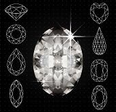 image of marquise  - Vector illustration of Set of variously shaped diamonds and realistic gemstone - JPG