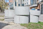 foto of septic  - Concrete circle pit block on construction site - JPG