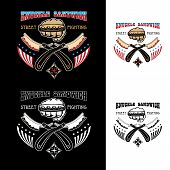 pic of brass knuckles  - Vector illustration street fighting club emblem with knuckle brass knuckles razors stars and inscription - JPG