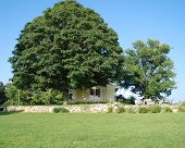 image of farmhouse  - New England farmhouse with big - JPG