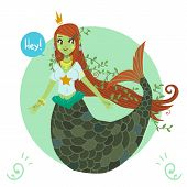 picture of mermaid  - The vector image icon cute young mermaid - JPG