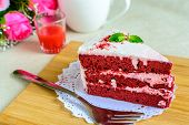 stock photo of red velvet cake  - Close up of Red velvet cake and coffee on table - JPG