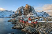 image of reining  - Winter landscape, Reine fishing village, Lofoten, Norway