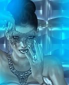 image of masquerade mask  - Masquerade mask woman and abstract blue twilight background - JPG