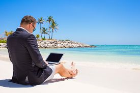 picture of self-employment  - Businessman using laptop computer on tropical beach - JPG