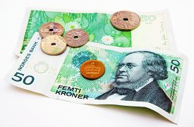 picture of christening  - Norwegian crowns with portrait of Peter Christen Asbjornsen on a banknote - JPG
