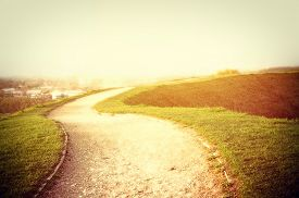 foto of spring-weather  - Road to new opportunities with bright future - JPG