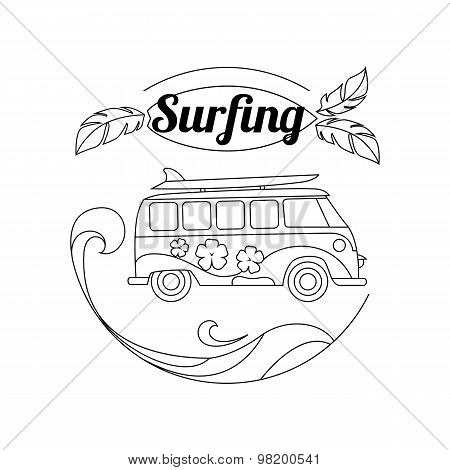 Surf trip outline background. Minimalistic linear travel vacation vector illustration with surf bus,