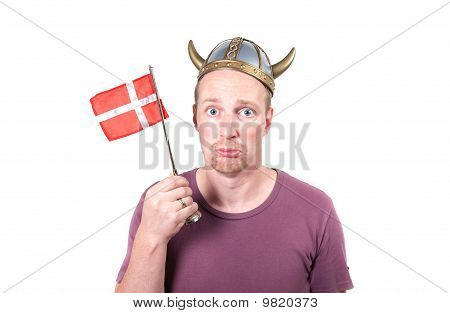 Viking Man Isolated Helmet