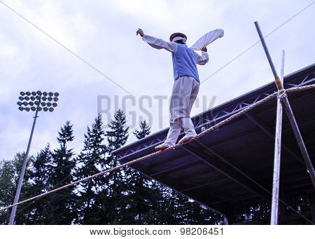 Korean Tightrope Walker At Festival Grounds