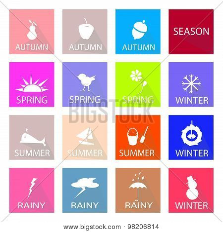Illustration Set Of 16 Season Flat Icon