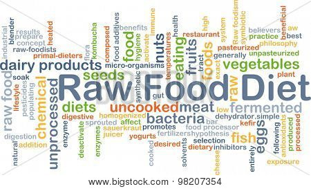 Background concept wordcloud illustration of raw food diet