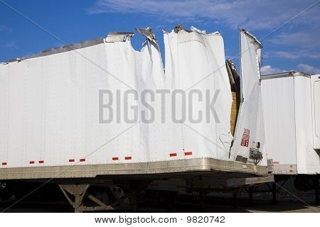 White Trailer After Accident
