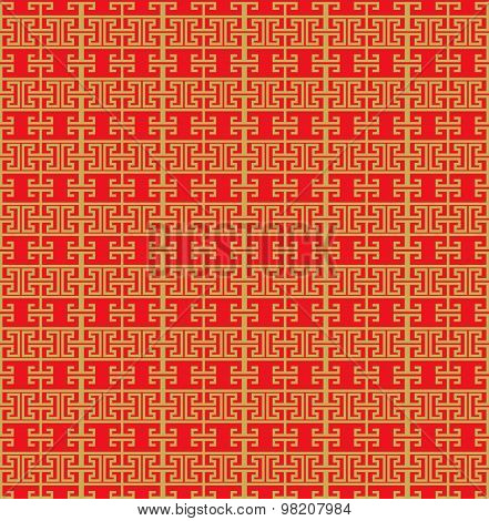 Golden seamless Vintage Chinese window tracery line pattern background.