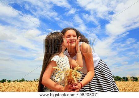 Happy Family Moments - Young Girls Having Fun Ln The Wheat Field