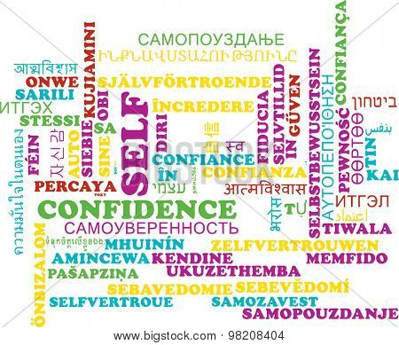Background concept wordcloud multilanguage international many language illustration of self-confidence