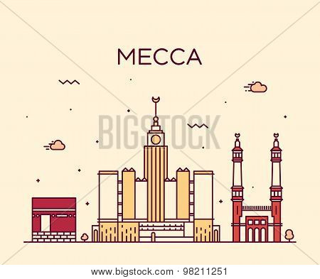 Mecca skyline Trendy vector illustration linear