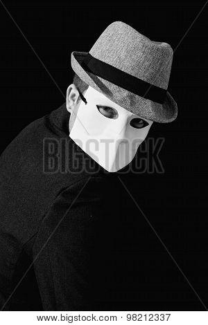 Man Wearing White Masquerade Mask