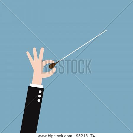Music Orchestra Conductor Hand With Baton