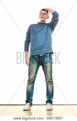 Young Man Casual Style Posing Isolated
