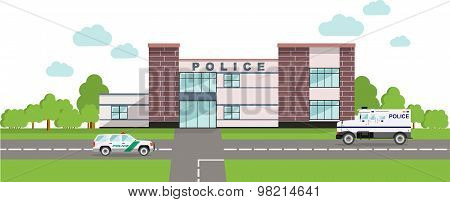 Police Concept. Panoramic Background With Police Department Building And Police Cars In Flat Style.