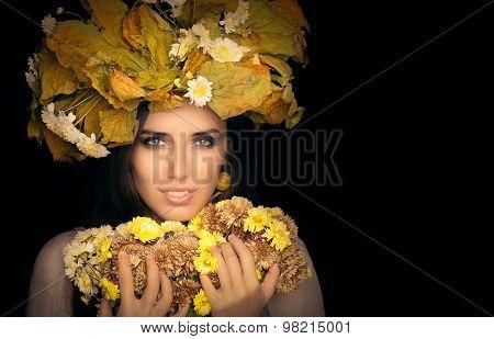 Autumn Woman Beauty Portrait with  Flower Bouquet