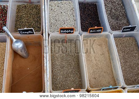 Close-up Of Different Types Of Assorted Spices