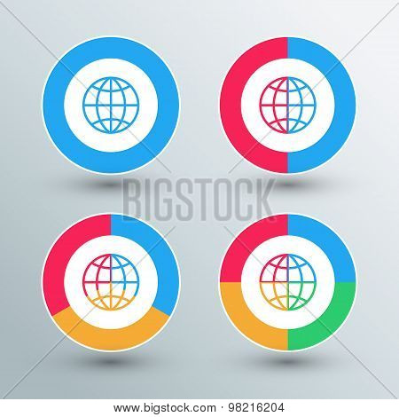 Globe sign icons. Globe sign buttons. Heart colors.