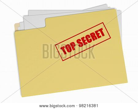 Top Secret File Folder On White Background