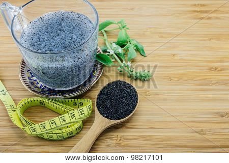Concept Of Gelatinous Basil Seeds For Diet And Weight Loss