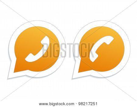 Phone handset in orange speech bubble icon.