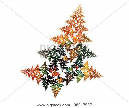 Abstract Fractal Design. Fir Tree On White.