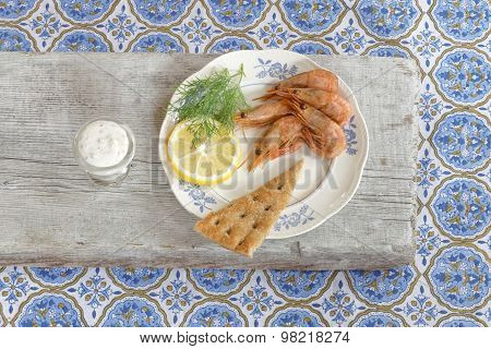 Plate Of Shrimp, Lemon, Bread And Dill