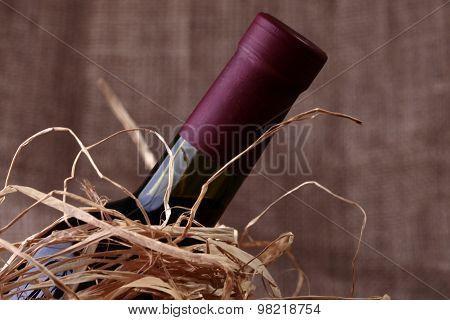 Wine Bottle In Straw