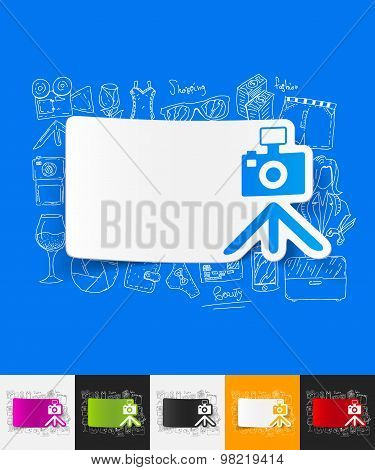 photo paper sticker with hand drawn elements