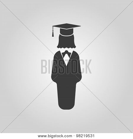 The student girl icon. School and academy, college, education symbol. Flat