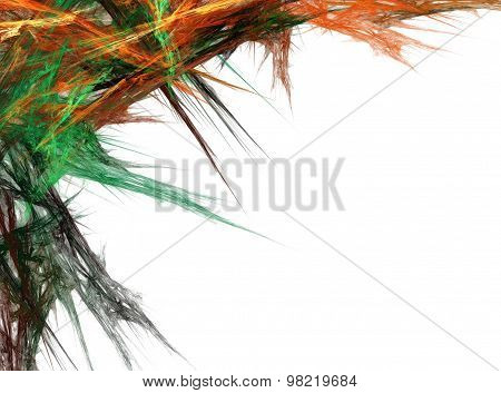 Abstract Multicolored Spiked Fractal Image Over White Background