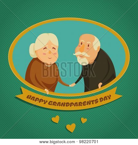 Happy grandparents holding hands. Happy grandparents day poster. Vector illustration in cartoon styl