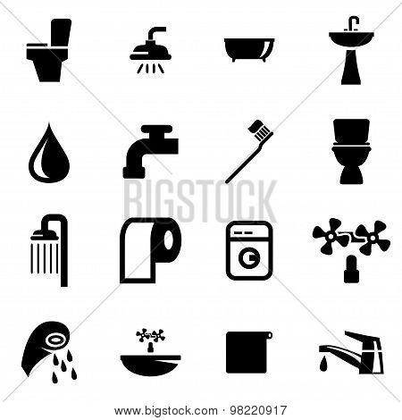 Vector Black Bathroom Icon Set