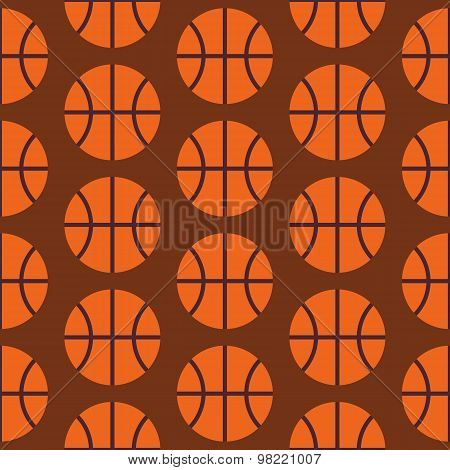 Flat Vector Seamless Sport And Activity Basketball Pattern