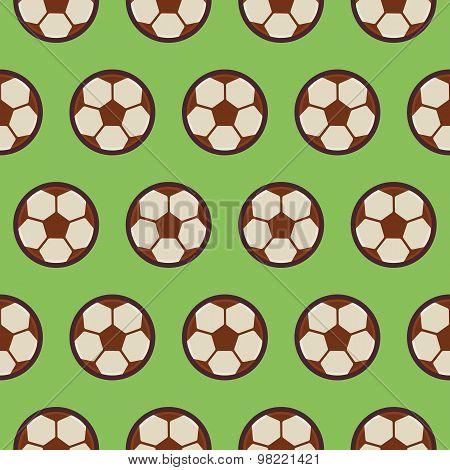 Flat Vector Seamless Sport And Recreation Pattern Football Soccer