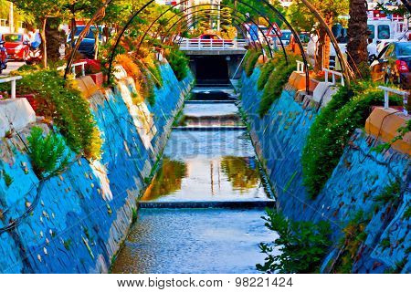 A Digital Painting Of A Colorful Storm Drain In Kusadasi Turkey