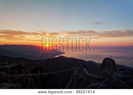 Beautiful Sunrise Over The Black Sea, A View From Mountain Top Ai-petri, The Crimea