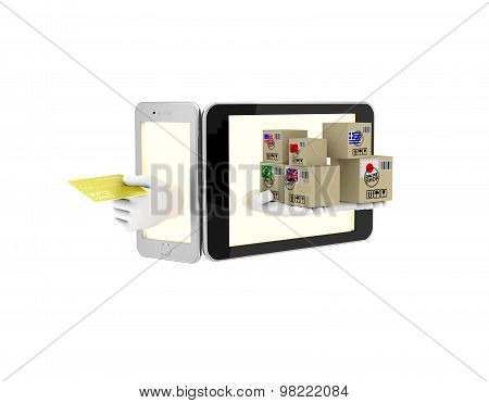 Internet Trade In Your Phone. 3D Illustration On A White Background. Render.