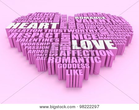 3D Group Of Words Shaping A Heart With Pink Background Aerial View