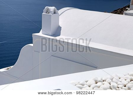 Detail Of White Washed Traditional Houses, Greece, Santorini Island