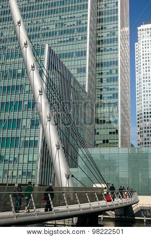 Footbridge in Canary Wharf  London's Docklands