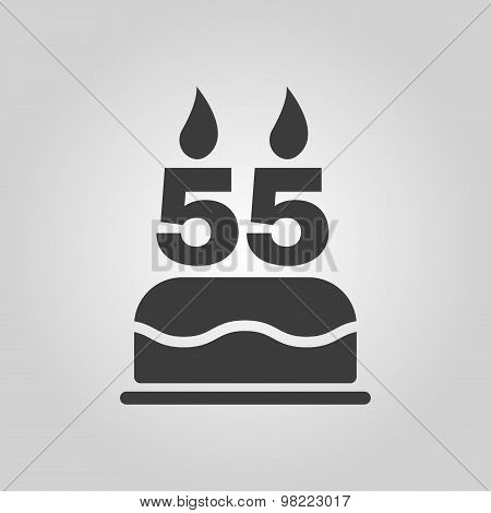 The birthday cake with candles in the form of number 55 icon. Birthday symbol. Flat