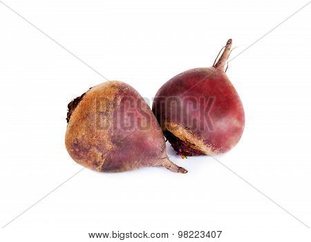 Fresh Beetroot Isolated On White Background. Selective Focus On Right Beetroot