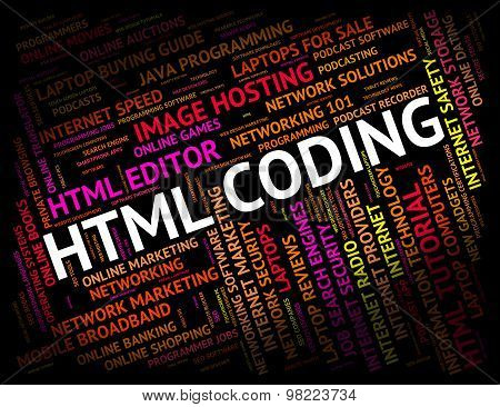 Html Coding Shows Hypertext Markup Language And Cipher